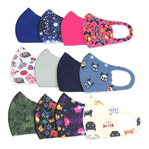 AZOZA 12er Set, Kinder Mund-/Nasenschutz, Gesichtsmaske, Kindermaske, Mundschutz, Schutz-Maske, Stoffmaske für Mädchen und Jungen, 12 Motive, wiederverwendbar, waschbar bei 60°C.