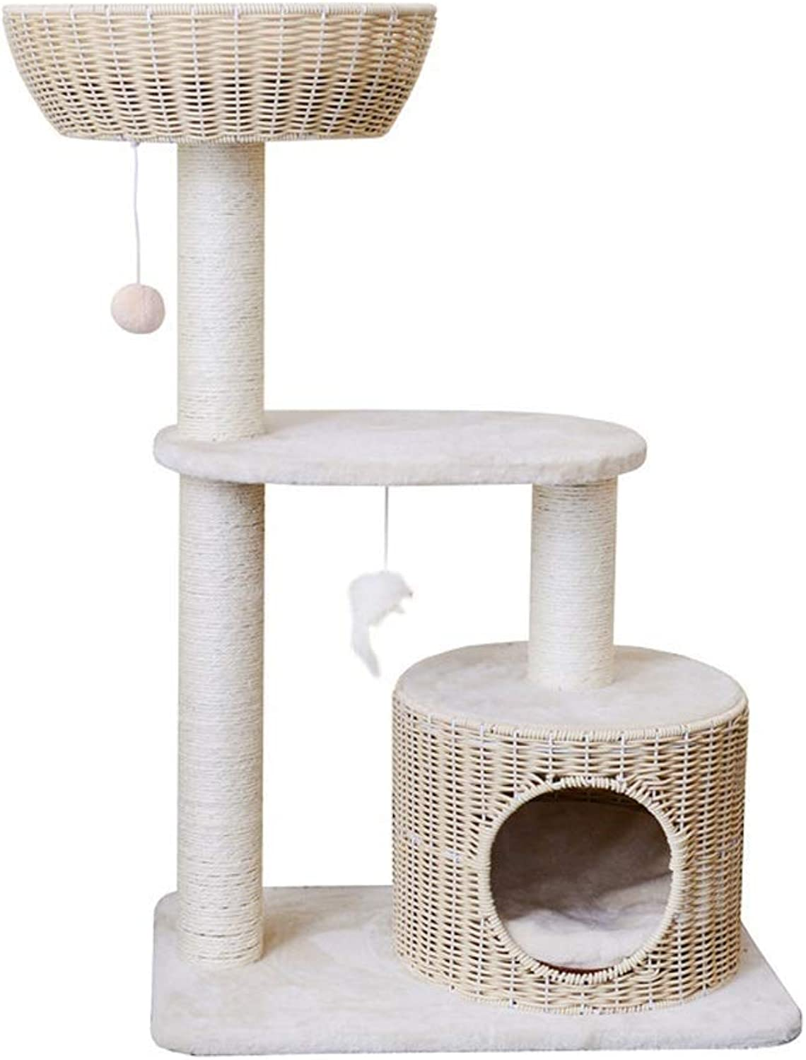 Cat Playing Tower, Cat Climbing Frame Washable Cat Tree house Pet Toy (Beige)