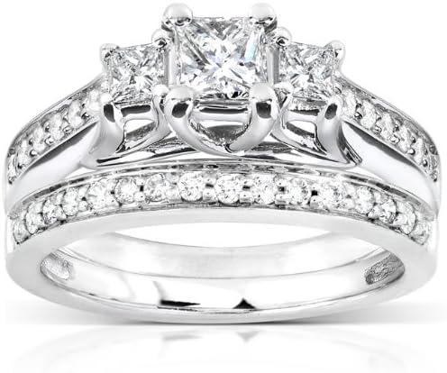 price Kobelli Three-Stone Diamond Engagement Ring Set Wedding Austin Mall and Band