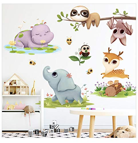 Cartoon Hippo Deer Wall Vinyl Cute Elephant Calf Decal Bee Bat Wallpaper Kid Bedroom Removable Kids Room Stickers