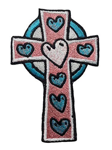 Cross Patch Iron on Embroidery for Clothing Jackets sew on Applique (Small, 2)