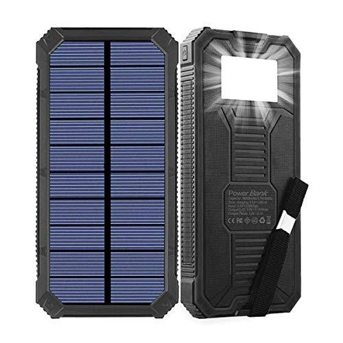 Cargador solar, batería solar portátil de 15000 mAh con dos puertos de salida USB, cargador de batería solar externo para teléfono móvil, con linterna LED, adecuado para iPhone, iPad, Android, etc