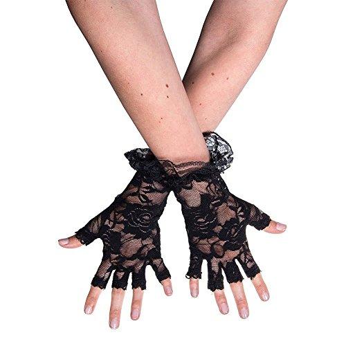 TaoNaisi Guantes de encaje sin dedos negros de Halloween