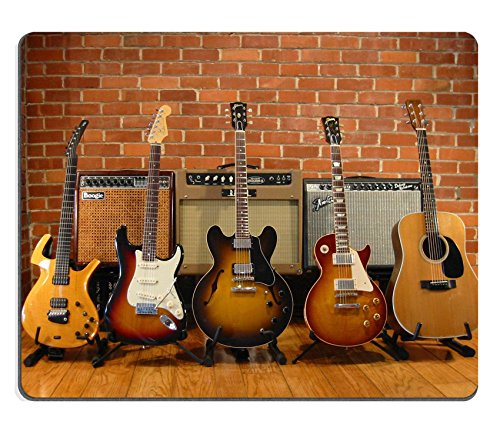 MSD Mouse Pad Natural Rubber Mousepad Image of Music Guitar Electric Musical Instrument Wood Sound String Rock White Concert Jazz Object Background Isolated