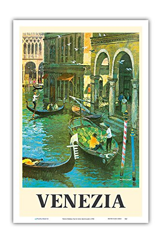 Venice (Venezia) Italy - Venetian Canals - Vintage World Travel Poster by Louis Macouillard c.1950s - Master Art Print - 12in x 18in