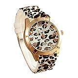 ICHQ Fashion Leopard Geneva Watch, Personality Men's Business Silicone Quartz Analog Wristwatch (White)