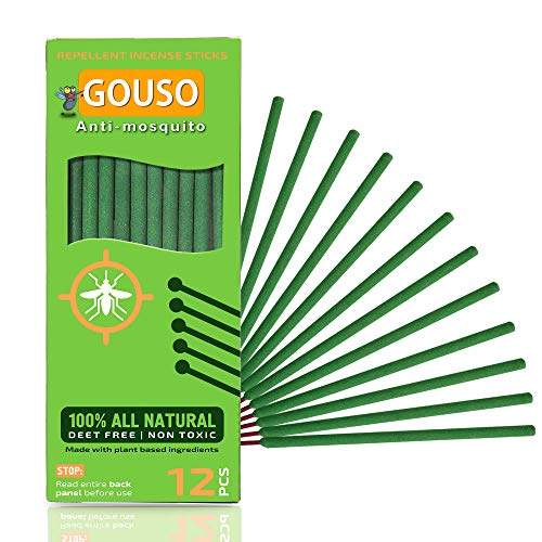 Gouso Mosquito Repellent Sticks – DEET Free Bug Repellent Incense Sticks Made with Natural Based Essential Oils: Citronella, Rosemary, Lemongrass Plant Oil Insect repellent for Outdoor - 12Pcs Per Box