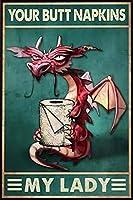2個 ドラゴンユアナプキンマイレディティンサインバスルームルールファミリーホテルジムドアウォールデコレーションヴィンテージベストバスルームギフト メタルプレート レトロ アメリカン ブリキ 看板