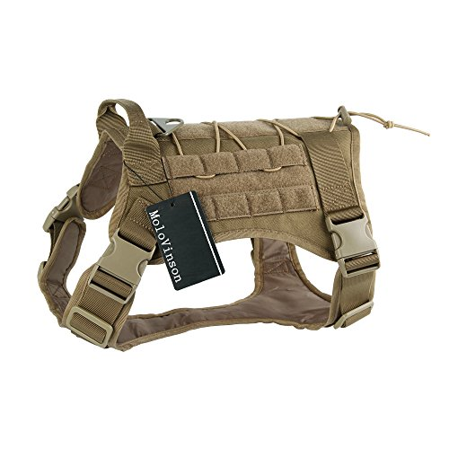 MoloVinson Tactical Dog Pack Hound Vest MOLLE Travel Camping Hiking Backpack Military Patrol K9 Dog Harness Saddle Bag Rucksack