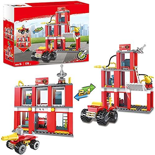 Juegos de construcción 2 en 1 con motor de bomberos City Fire Building Blocks para niños juguetes de construcción para niños y niñas de 6 a 12 años 178 piezas