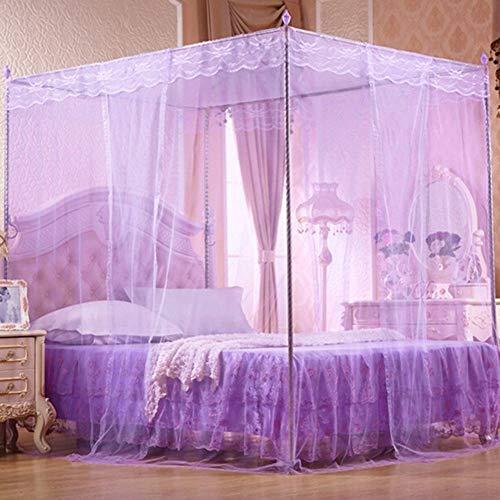 Willlly prinses romantische kant voortent muggennet met casual chic dubbel queen bed beige volledige grootte middendeel Oosterse decoratie zacht Queen Violet.