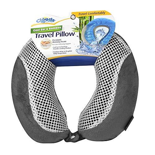 Cloudz Cool Gel Memory Foam Travel Neck Pillow - Grey