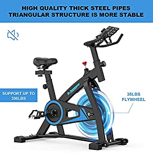De.Pommeyeux Exercise Bike, Indoor Cycling Bike Stationary with 35 Lbs Flywheel, Workout Bike Fitness Bikes for Home Cardio with Comfortable Seat, Silent Belt Drive, iPad Holder