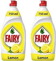 Fairy Lemon Dishwashing Liquid Soap, 2 x 750 ml