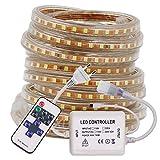 XUNATA 20m Striscia LED 220V Dimmerabile con Telecomando a 11 Tasti, illuminazione Strisce LED Impermeabile IP65 LED Strip Light- Luce Bianco Caldo