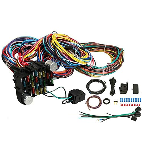 VOWAGH Universal Extra Long Wires 21 Circuit Wiring Harness Hotrod Fit for GM Chevy