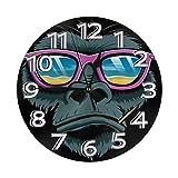 掛け時計 壁掛け時計 クールゴリラサングラス かけ時計 おしゃれ 耐久性 静音 音無し シンプル デザイン 連続秒針 電池式 直径25cm 寝室 部屋装飾 オフィス 丸形 時計