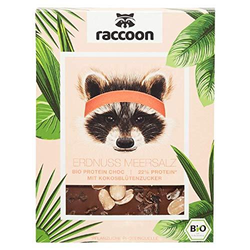 Raccoon Erdnuss Meersalz Proteinschokolade 70 Gramm vegane Bio-Schokolade I Weniger Zucker, mehr Eiweiß & intensiver Geschmack I Hochwertige Schokolade für Sportler & ernährungsbewusste Foodies