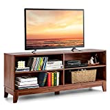 Tangkula Wood Universal TV Stand for TVs up to 65-Inch Flat Screen, Home Living Room Storage Console Entertainment Center with 4 Open Storage Shelves, TV Console Table (Coffee)