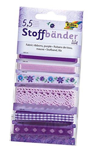 folia 12204 - Stoffbänder, 6 Stück, lila - ideal zum Dekorieren und Verzieren