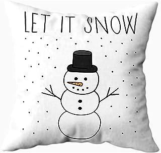 Ducan Lincoln Pillow Case 2PC 18X18,Fundas De Almohada De Sofá,Fundas De Almohada De Tiro Cuadrado Navidad Let Snow Happy Snowman Winter Christmas Motif Writing Drawing Greeting Card