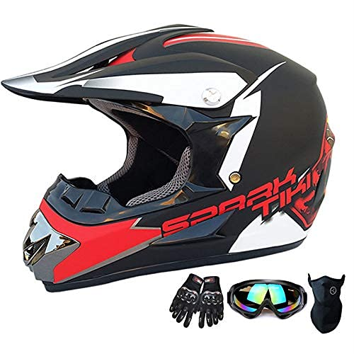 Youth Kids Motocross Helmet Offroad Gear Combo Mask Goggles Gloves,Handsome Little Spider ATV Motorcycle Helmet SUV Dirt Bike Mountain Helmet Gift for Boy DOT Approved