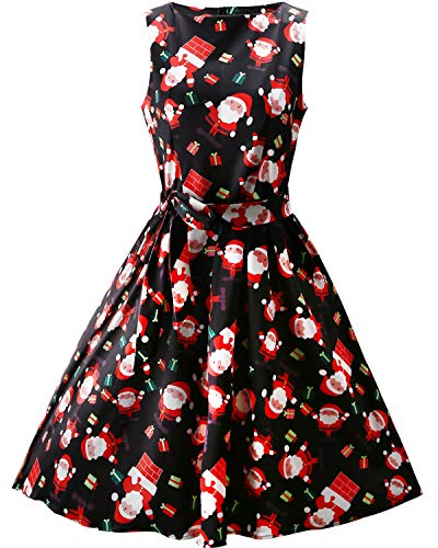 OUGES Women's Fit and Flare Cocktail Dress(Black Santa,S)