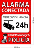 Cartel Disuasorio Interior/Exterior, Placa Disuasoria de PVC Flexible, Cartel Alarma Conectada, 30x21 cm Rojo