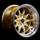 JNC Wheels - 15' JNC003 Gold Machined Lip Rim - 4x100/4x114.3-15x9 inch (1 Single Wheel Only)