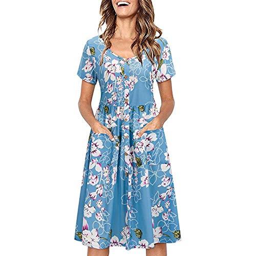 Vestido de verano para mujer, estilo bohemio, cuello en V, drapeado, con bolsillos, informal, estampado de flores, vestido de verano