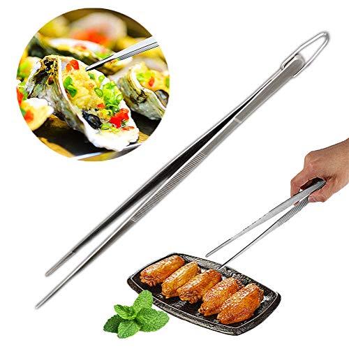 Pinze Cucina Professionale CHEPL Pinzette per Barbecue in Acciaio Inossidabile Multifunzionali Pinze da Cucina con Punta Diritta, Lavabili in lavastoviglie, 30cm