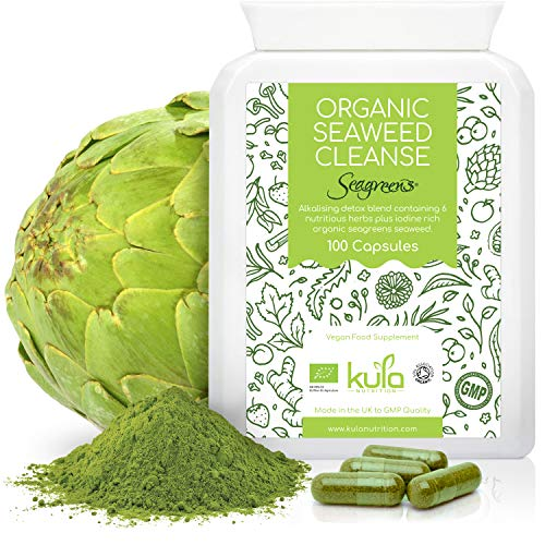 Kula Nutrition - Organic Seaweed Cleanse – 100 Capsules – Alkalising Cleanse Vegan Food Supplement to Support The Alkalisation and Detox of The Body - Contains Iodine Rich Seagreens Organic Seaweed.