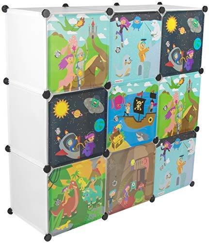 KEKSKRONE Großer Kinderschrank Bunte Motiv-Türen - DIY Stecksystem - 9 Module je 37 x 37 x 37 cm, Weiß | Kinderzimmer-Schrank | Kinderkleiderschrank | Baby-Regal | Spielzeugkommode