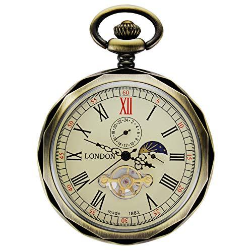 TREEWETO Taschenuhr mit Kette Herren Analog Handaufzug 24 Stunden Sonne Mond Anzeige Bronze