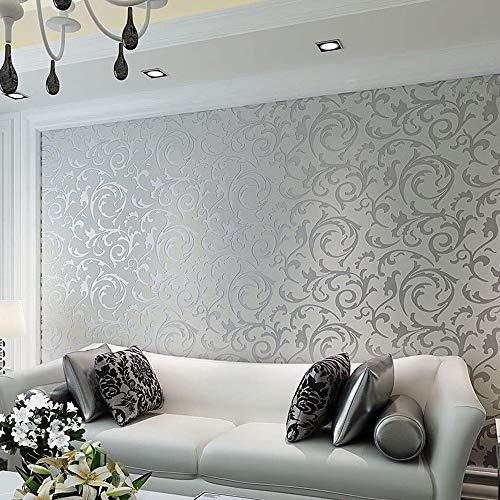 Stile semplice non tessuto carta da parati damascata,Camera da letto soggiorno TV sfondo 10m (3)