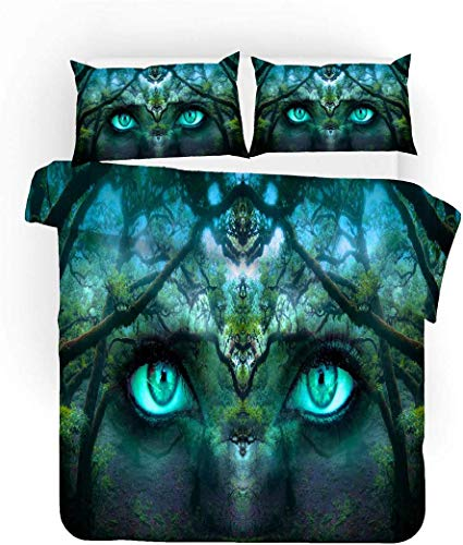 WFBZ 3D 3-Piece Bedding Set Fantasy Design Blue Black Red Forest Galaxy Animal Flame Beauty Microfibre Pillowcase and Duvet Cover for Children Adults, Microfibre, Eye of the Forest, 135 x 200 cm