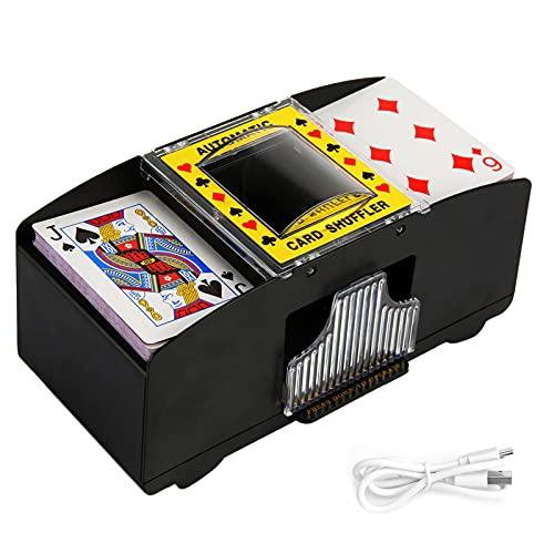 Washranp Mezclador de tarjetas eléctrico 2 en 1, alimentado por USB, funciona con pilas, 2 barajas de mezcla automática, ahorro de trabajo, para juegos de póquer en casa, fiestas, clubes, puentes