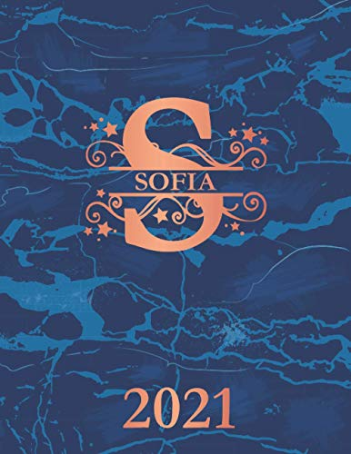 Sofia: 2021. Personalized Name Weekly Planner Diary 2021. Monogram Letter S Notebook Planner. Navy Blue Marble & Copper Cover. Datebook Calendar Schedule