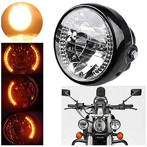 Faros Delanteros de Motocicleta de 35 Vatios con Señal de Giro, luz Delantera Halógena de 7 Pulgadas