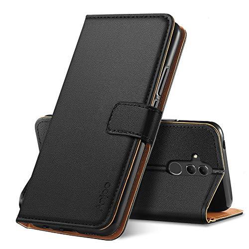 Anjoo Hülle Kompatibel für Huawei Mate 20 Lite, Handyhülle Tasche Premium Leder Flip Wallet Case Kompatibel für Huawei Mate 20 Lite [Standfunktion/Kartenfächern/Magnetic Closure Snap], Schwarz