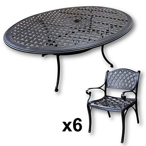 Lazy Susan - Nicole 180 x 115 cm Ovaler Gartentisch mit 6 Stühlen - Gartenmöbel Set aus Metall, Antik Bronze (Kate Stühle)