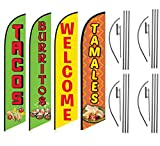 Tacos Burritos Tamales Welcome Mexican Restaurant Feather Flag Kit Package, 4 Banner Swooper Flag Kits with Flag Poles and Ground Stakes