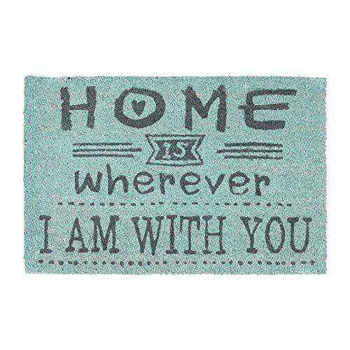 Relaxdays–Felpudo Coco Texto Home Wherever I Am with You, Felpudo de Coco con Base Antideslizante de PVC, Tela, Turquesa, 40 x 60 x 1.5 cm