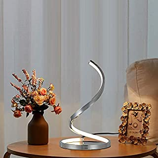 Karmiqi Spiral LED Table Lamp Modern Bedside Nightstand Lamp Curved Desk Lamp Chrome Finish Contemporary Minimalist Design for Bedroom Living Room(7W)
