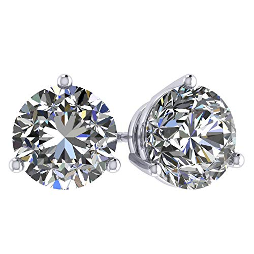 14K Gold Post and Sterling Silver Swarovski Zirconia Martini Style Stud Earrings by Central Diamond Center