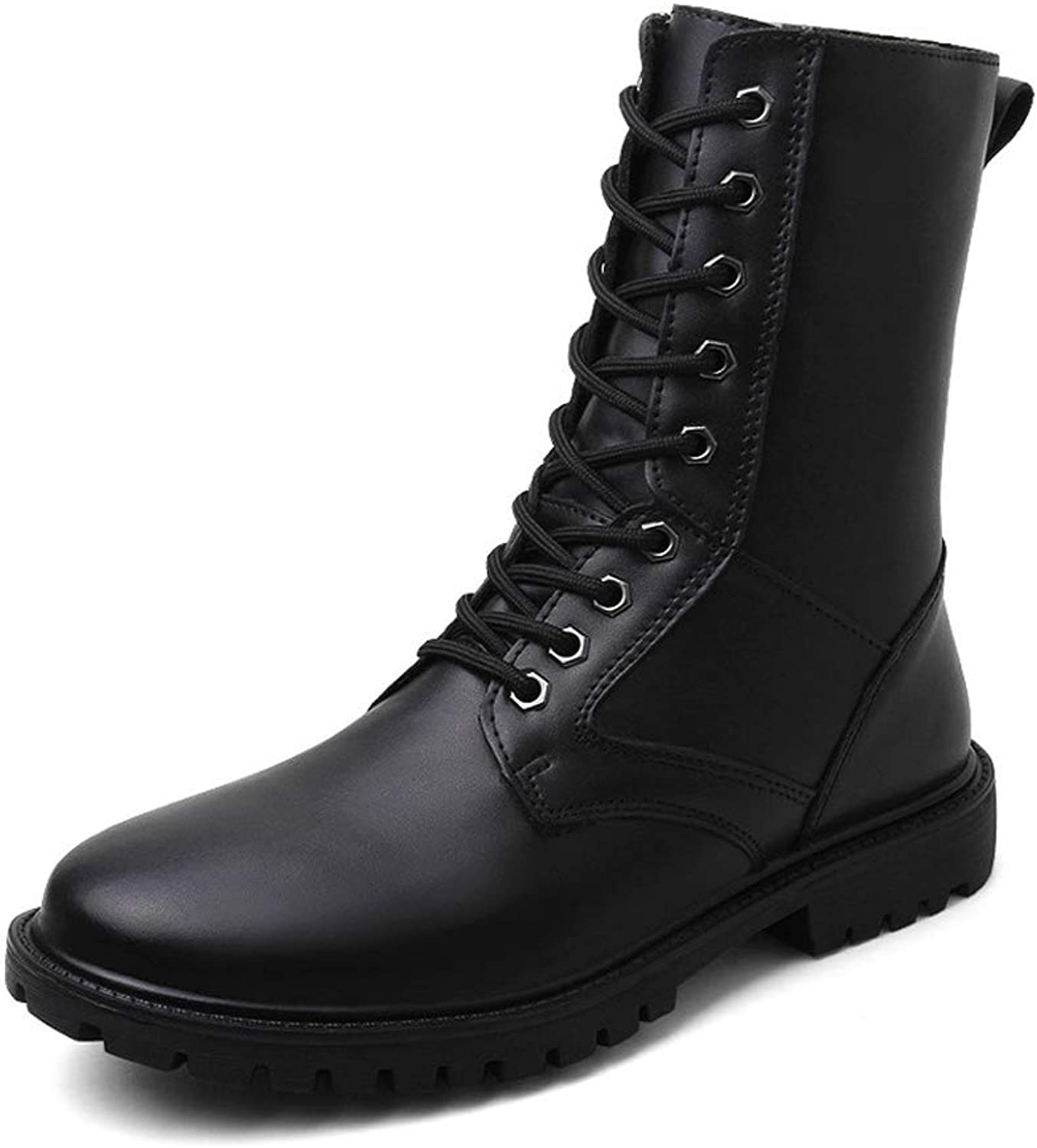 XHD-Men's shoes Men's Personality Fashion Mid-Calf Boots Genuine Leather High Top Military shoes (Warm Fleece Lined Optional)
