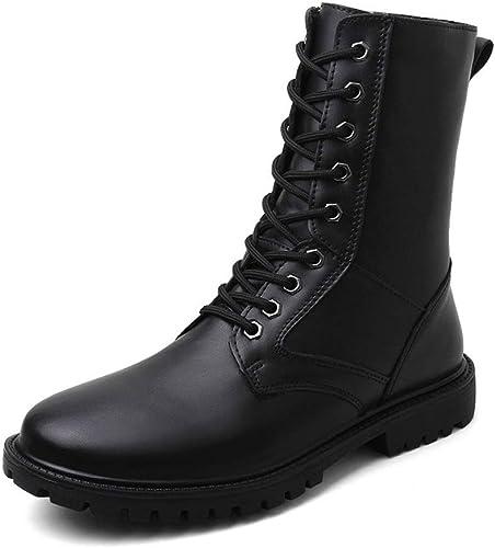 Bottes mi-Mollet Hommes, Chaussures Militaires de qualité supérieure en Cuir véritable (Doubleure en Polaire Chaude en Option),2018 Bottes Homme (Couleur   Noir, Taille   43 EU)