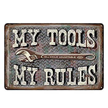 Garage Series Dad s Garage Tin Metal Wall Decoration Signs Man Cave/Garage Original Design of Thick Tinplate Wall Art  My Tools,My Rules 8x12 Inches  20x30 cm