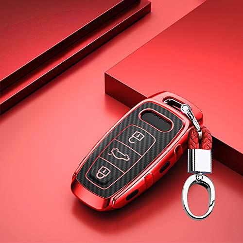 ontto Autoschlüssel Hülle Cover fürAudi A6 A7 A8 E-Tron S6 RS6 S7 RS7 Q7 SQ7 Q8 SQ8 A8L A6L 2019 2020 Schlüsselhülle mit Schlüsselanhänger Weiche TPU Schlüssel Schutz Etui Case 3 Tasten-Rot
