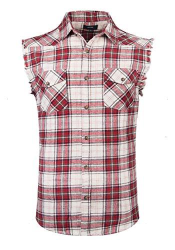 NUTEXROL Camicia Uomo Camicia Senza Maniche per Uomo, Rosso/Beige, Taglia XXL